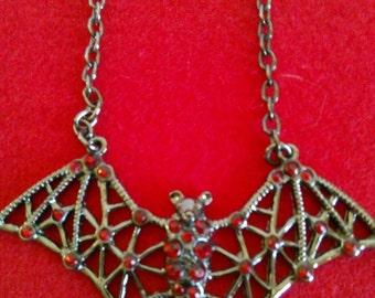 Gothic Red Rhinestone Bat Necklace
