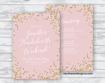 Pink and Gold Bachelorette Party Itinerary Blush Bachelorette Weekend Itinerary 5x7 Digital File or Printed