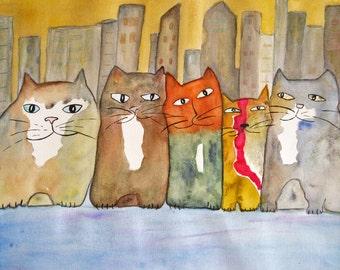 Original Cat Art - Uptown Five