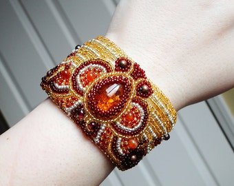 Amber Bracelet, Amber Cuff, Gemstones, Glass, Bead Embroidered Cuff - Ra by CircesHouse on Etsy
