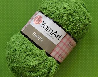 Happy YarnArt - 779 Green / Worldwide Shipping / Crochet and Knitting Yarn / Furry / Fuzzy / Fluffy / 1 ball/100g
