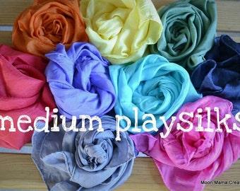 Playsilks, Waldorf Inspired Single Medium Play Silk, 21 x 21. Open Ended, Dress Up, Dance, Scenery, Montessori