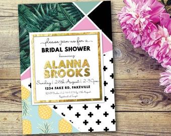 Geometric bridal shower invitation, tropical bridal shower invitation, geometric tropical invite, geometric invite, gold, pineapple (Allanah