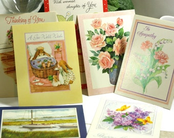 Lot of 7 unused vintage greeting cards - sympathy, thinking of you