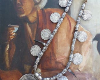 Antique Omani Silver 'Somt' Necklace with Maria Theresa Silver Thaler Coins