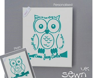 Deep Frame Embroidered Canvas Art - Personalised or Plain Owl, Perfect gift for a newborn!