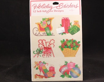 Vintage Sangamon Holiday Stickers. 12 Self Adhesive Designs. Sealed Christmas Sticker Package