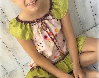 Organic Cotton Free Spirit dress with tie, ruffle and flutter sleeves Sizes 1 to 6