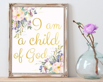 """Feminine Art Print, Watercolor Shapes, Religious Artwork """"I'm A Child Of God"""" Bible Verse, Modern Christian Art Printable Quote, Wall Decal"""