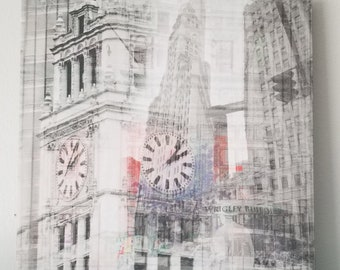 """Chicago 13"""" Canvas Wall Art - Wrigley Building Photo Collage"""