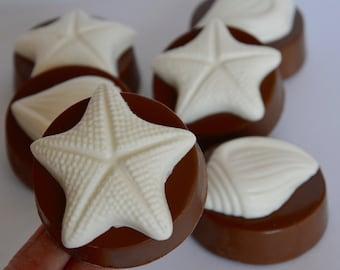 Chocolate Beach Oreos (6), Wedding Chocolate, Beach Theme Chocolate, Chocolate Sea Shell, Chocolate Starfish, Chocolate Beach Oreo