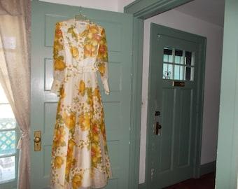 Vintage Floral Floor Length Dress