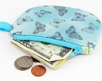 Butterflies, change purse, credit card case, business card holder, womens change purse, credit card wallet, mini wallet, minimalist wallet
