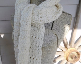 The Ivory Dream Scarf. Handmade Crochet Scarf. Rustic Bohemian Hand Crocheted Ivory Super Long Textured Scarf.