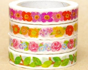 NamiNami Washi Masking Tape - Flowers, Rose & Leaf - Slim