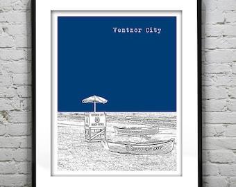 20% OFF Memorial Day Sale - Ventnor City Poster Print Art  NJ Skyline Jersey Shore Version 3