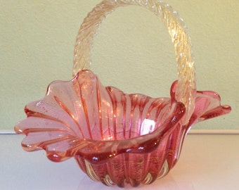Vintage Murano Cranberry and Gold Basket with Handle