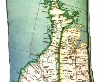 Bruce Peninsula Vintage Map Pillow - FREE SHIPPING