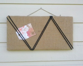 Bulletin Board burlap with an accent of black macrame cord, memo board for your office, bedroom or kitchen, chevron pattern, modern design