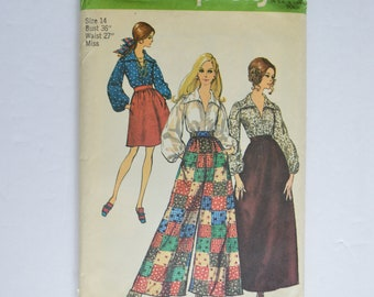 1960s Simplicity Sewing Pattern 8550 Womens Maxi or Knee Length Skirt, Culottes Pants & Long Sleeve Collar Blouse Size 14