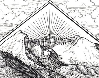 Mt St Helens 5x5 Print - Mountain Art Giclee Print - Pen and Ink Washington Illustration