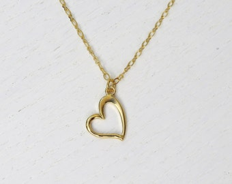 Simple heart necklace, Gold heart necklace