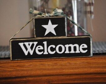 Welcome Wood Block Sign