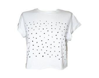 Abgeschnitten T-Shirt in weiß, schwarz Punkte Muster, von Hand bemalt, coolen Shirt, coole t-Shirt, weißes Hemd, Mädchen-T-Shirt, Teenager-Mädchen oben