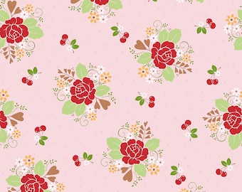 Sew Cherry 2 Fabric - Pink - Lori Holt Fabric - Riley Blake Sew Cherry Fabric By The 1/2 Yard