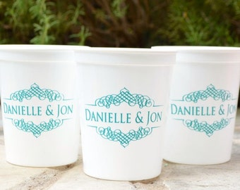 Custom Plastic Wedding Cups, Personalized Couples Party Cups, Engagement Party, Custom Barware, Personalized Wedding Favors