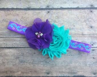 Turquoise and Purple Headband - Newborn Headband - Toddler Headband - Purple Headband - Turquoise Headband - Baby Girl Headband - Headband