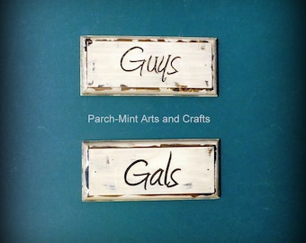 ENGRAVED Guys and Gals Restroom Set Vintage Look Signs Plaques