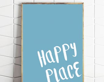 happy place art, painted look, blue art, blue decor, blue download, happy place decor, digital decor, blue wall print, nursery decor