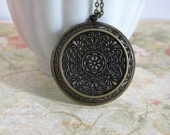 Imperial Filigree Love Vintage Inspired Large Round Floral Antique brass Locket Long Necklace