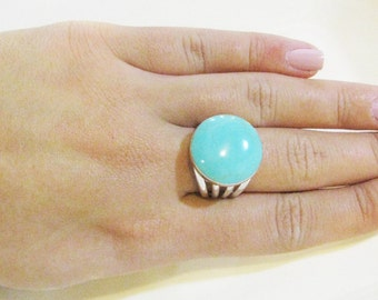 Boho Ring, Turquoise Ring, Sterling Silver Fashion Ring, Adjustable ring,Unique Turquoise Jewelry, December Birthstone, Stataement Ring,