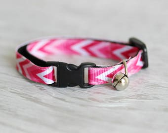 Pink Cat Collar Pink Сhevron Cat Collar White Pink Cat Collar Safety Cat Collar Geometric Cat Collar Breakaway Buckle Cat Collar Modern Cat