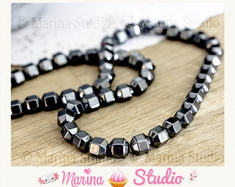 20 hematite beads 6mm faceted - Hematite non emantees black