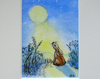 Moongazing hare, cow parsley,moonlight,ACEO mounted print from my original watercolour.