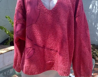 CRUSHED STRAWBERRIES & CREAM Sweater, hand knitted, 100% raw silk with silk fabric applique rose. Oversized and comfortable V neck