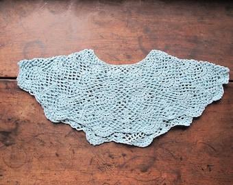 Vintage Lace Collar mid century cotton crochet blue necklace