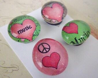 Round Glass Magnet Set - Music Love