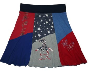 4th of July Plus Size Skirt Women's 2X 3X Size 20 22 24 26 Best Selling Item Hippie Skirt upcycled repurposed Twinkle skirts Twinklewear