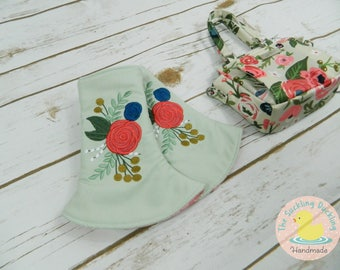 Pre-Order* Embroidered Shabby Chic Floral Design Corner Pads Coordinates w Tula Rosy Posy. Floral Drool Pads Fits Tula, Lillebaby, Ergo & MJ