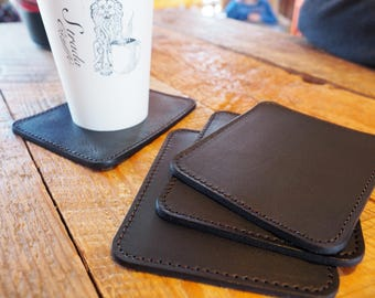 Leather Coasters PREORDER, Handmade Leather Coaster Set, Bar Coasters, Barware, Lined Leather Drink Coasters, Home Decor, Housewarming Gift