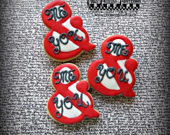 """Ampersand shaped """"Me & You"""" decorated cookies,  One Dozen (12 cookies)"""
