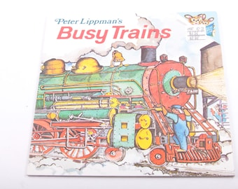 Busy Trains, Peter Lippman, Trains, Vintage, Children's, Book  ~ The Pink Room ~ 161215