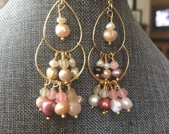 Elegant freshwater tiered pearl chandelier earrings gold