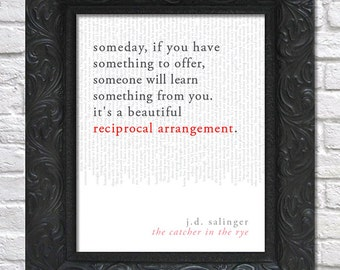 literary art print / book quote // the catcher in the rye; j.d. salinger / unframed