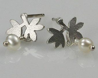 Petite Silver Leaves and Pearls Earrings
