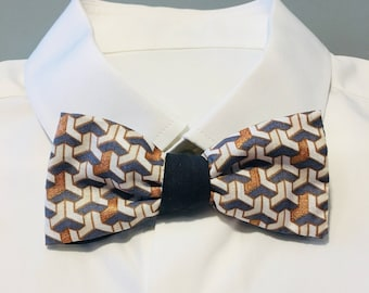 Bow tie gray and gold - geometric pattern - wooden button closure